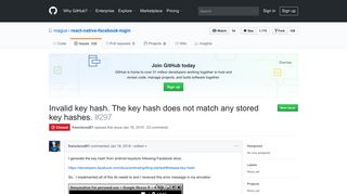 Invalid key hash. The key hash does not match any stored key hashes ...