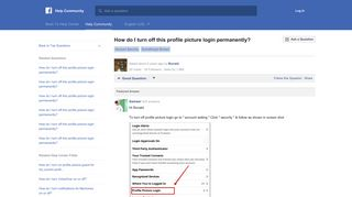 How do I turn off this profile picture login permanently? | Facebook ...