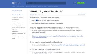 How do I log out of Facebook?   Facebook Help Center   Facebook
