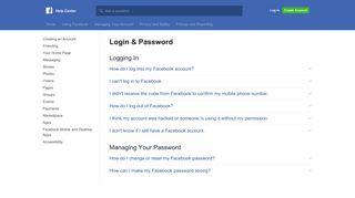 Login & Password | Facebook Help Center | Facebook
