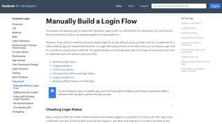 Manually Build a Login Flow - Facebook Login