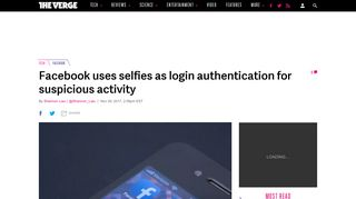 Facebook uses selfies as login authentication for suspicious activity ...