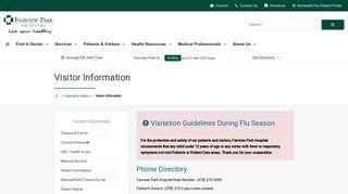 Visitor Information | Fairview Park Hospital