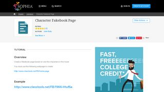 Character Fakebook Page Tutorial | Sophia Learning