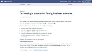 Custom login screens for family/business accounts - FastMail blog