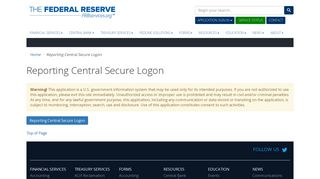 Reporting Central Secure Logon - Federal Reserve Bank Services