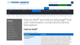 FedLine Web and FedLine Advantage End User Authorization Contact ...