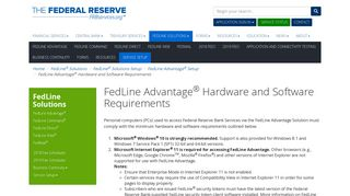FedLine Advantage Hardware and Software Requirements