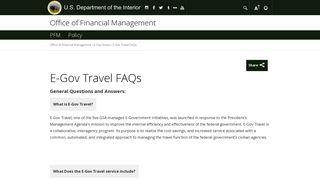 E-Gov Travel FAQs | U.S. Department of the Interior