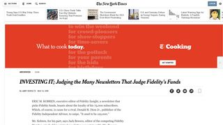 INVESTING IT; Judging the Many Newsletters That Judge Fidelity's ...