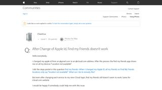 After Change of Apple Id, Find my Friends… - Apple Community ...