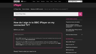 BBC iPlayer Help - How do I sign in to BBC iPlayer on my connected ...