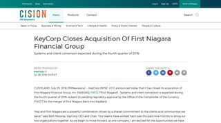 KeyCorp Closes Acquisition Of First Niagara Financial Group