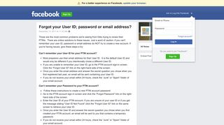 Forgot your User ID; password or email address? | Facebook