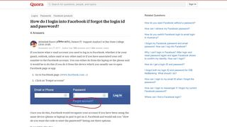 How to login into Facebook if forgot the login id and password - Quora