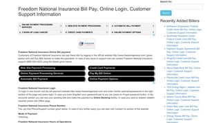 Freedom National Insurance Bill Pay, Online Login, Customer ...