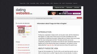 Information about Fuego de Vida in English - DatingWebsites.es