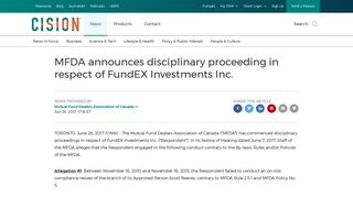 MFDA announces disciplinary proceeding in respect of FundEX ...