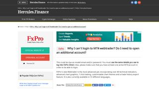 FxPro – Why I can't login to MT4 webtrader? Do I need to open an ...