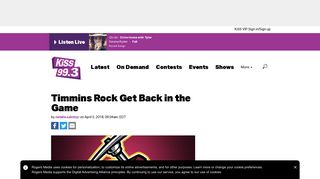Timmins Rock Get Back in the Game - KiSS 99.3 Timmins