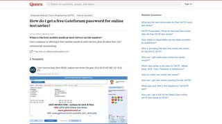 How to get a free Gateforum password for online test series - Quora