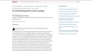 Is GATEFORUM good for GATE coaching? - Quora