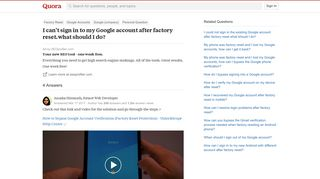 I can't sign in to my Google account after factory reset.what ...