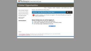 Security > User Identification Wizard: Step 1 > WUSTL Global ...