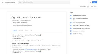 Sign in to or switch accounts - Android - Google Maps Help