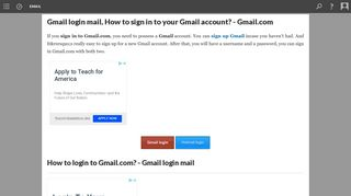 Gmail login mail, How to sign in to your Gmail account? - Gmail.com