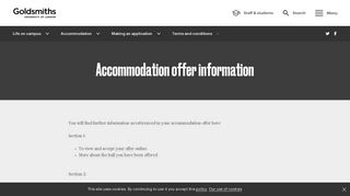 Accommodation offer information | Goldsmiths, University of London