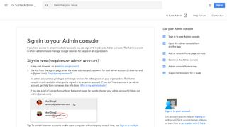 Sign in to your Admin console - G Suite Admin Help - Google Support