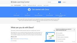 Google Docs: Get Started | Learning Center | G Suite