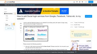 How to add Social login services from Google, Facebook, Yahoo etc ...