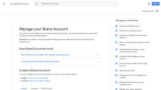 Manage your Brand Account - Android - Google Account Help