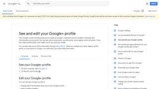 See and edit your Google+ profile - Computer ... - Google Support