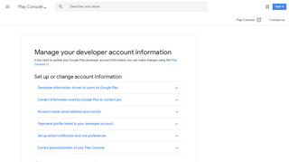 Manage your developer account information - Play ... - Google Support