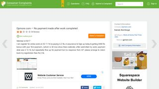 Gpmore.com — No payment made after work completed