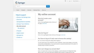 My online account - Springer