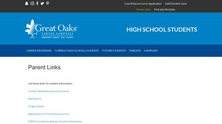 Parent Links - High School Students - Great Oaks