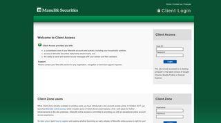 Manulife Securities - Client Login