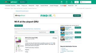 Wi-fi at the airport GRU - Guarulhos Forum - TripAdvisor