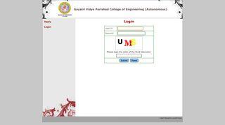 GVPCoE(A) -- Login - Gayatri Vidya Parishad College of Engineering