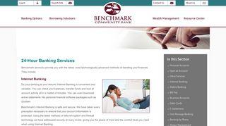 Benchmark Community Bank - Banking Options - Internet Banking