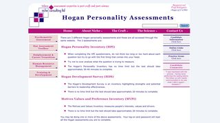 Online Test Link for Hogan Assessments   Niche Consulting Limited