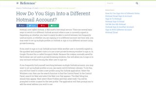 How Do You Sign Into a Different Hotmail Account? | Reference.com