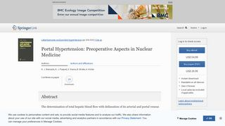 Portal Hypertension: Preoperative Aspects in Nuclear Medicine ...