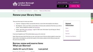 Renew your library items - London Borough of Hounslow
