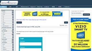 Create simple login page in HTML using CSS - dotnetlearners.com