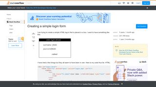 Creating a simple login form - Stack Overflow